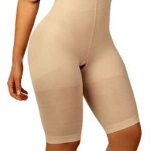 Tan Nude Mid Thigh Body Shaper Open Gusset Size S